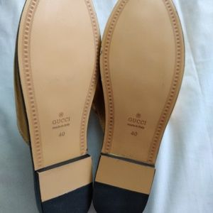 Gucci Shoes - Authentic Gucci Princeton gold leather slippers.